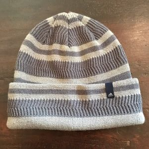 NWOT Adidas Gray Stripe Knit Hat